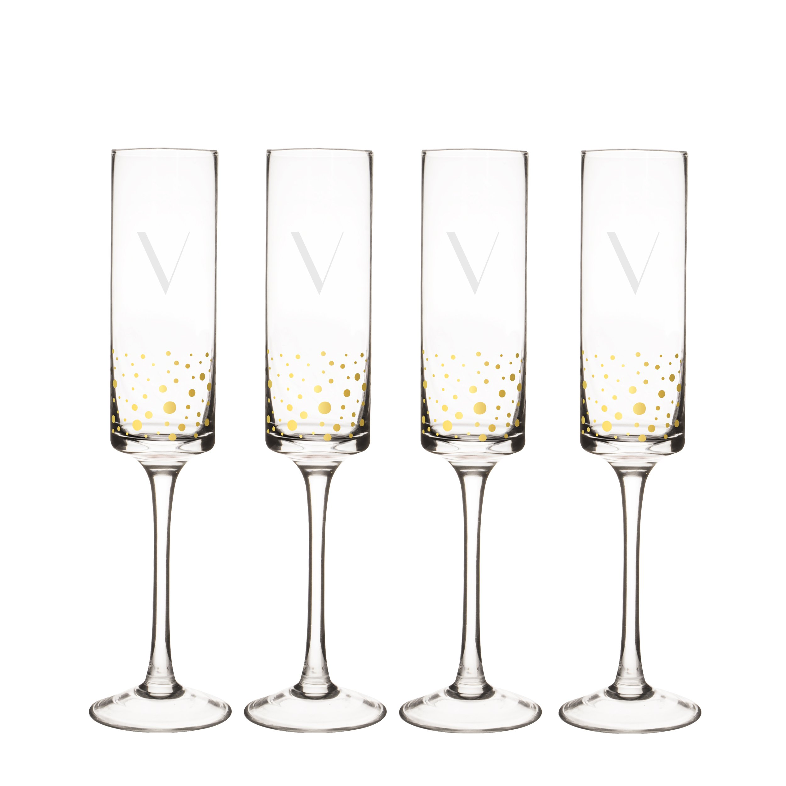 Cathy's Concepts GD3668-4-V Personalized Gold Dot Contemporary Champagne Flutes (Set of 4), Clear