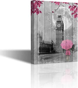Black and White Wall Art Pink Decor for Bedroom Canvas Pictures for Wall Decoration Artwork Canvas Pictures for Wall London Big Ben Tower Painting Framed Theme Room Decor Wall Art 16X12