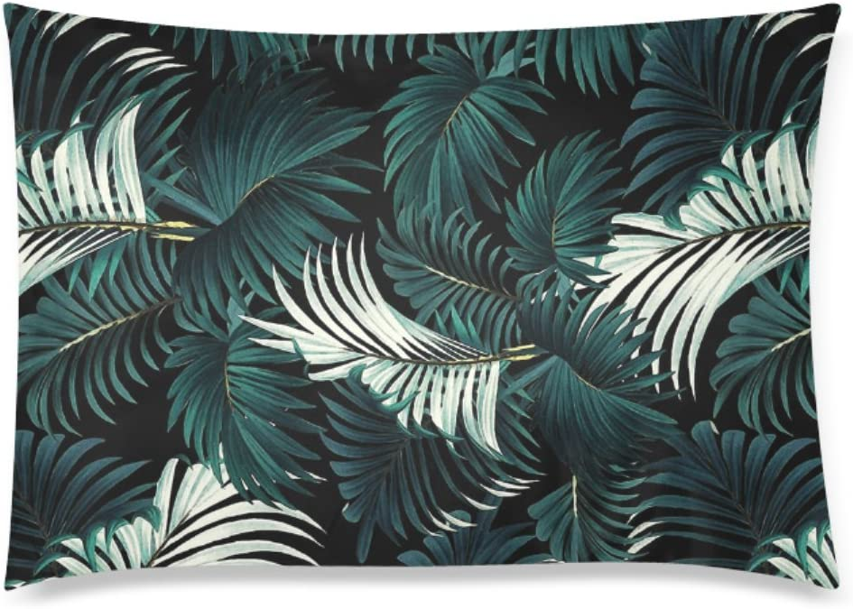 Tropical Jungle Night Deisign Custom Zippered Pillowcase Cotton Pillow Cover Two Side Queen Size 20x30 Inch