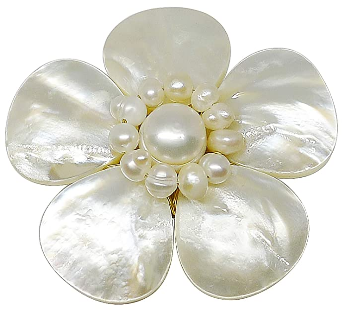 Vintage Style Jewelry, Retro Jewelry Bijoux De Ja Mother of Pearl and White Pollen Shell Pearl Flower Brooch Pin  AT vintagedancer.com