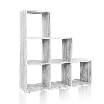 wiltec tagre 6 cases couleur bton etagre escalier diviseur de pice bibliothque meuble rangement