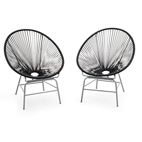 Pleasing Amazon Com Set Of 2 Black Acapulco Chairs Outdoor Patio Dailytribune Chair Design For Home Dailytribuneorg