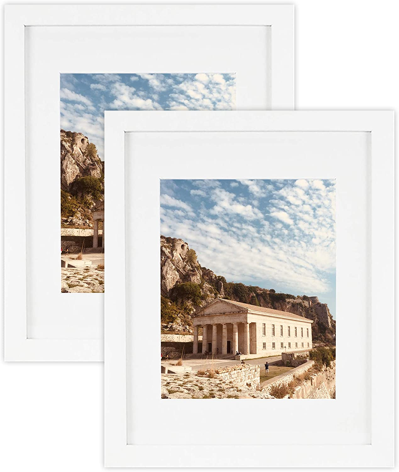Golden State Art, Set of 2, 11x14 White Wood Photo Frame with White mat for 8x10 Pictures, Real Glass