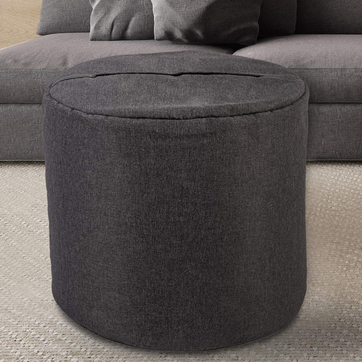 GOOD GRACIOUS Round Pouf Ottoman Bean Bag Floor Footrest Footstool for Living Room or Bedroom, Grey