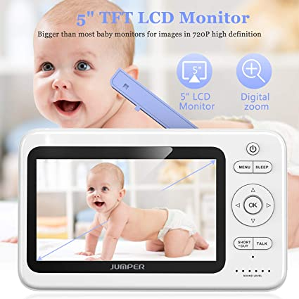 JUMPER Babyphone Wireless Video Baby Monitor 2.4GHz 720P PTZ Camera Purple Two Way Audio Invisible Night Vision Temperature Sensor 5 Lullabies 5.0 HD LCD Monitor