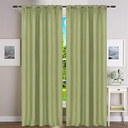 Dreaming Casa Light Green Thermal Insulated 100 Blackout Curtains