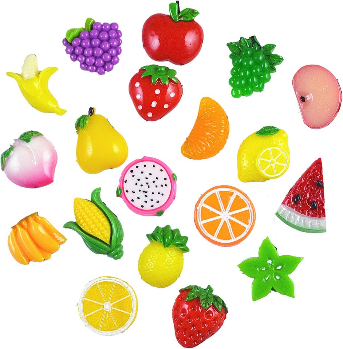 19 Pack Fruit Slime Charms Resin Flatbacks Buttons Polymer Clay Beads for Miniature Fairy Garden Hair Accessories DIY Scrapbooking Phone Case Jewelry Making Home Decoration