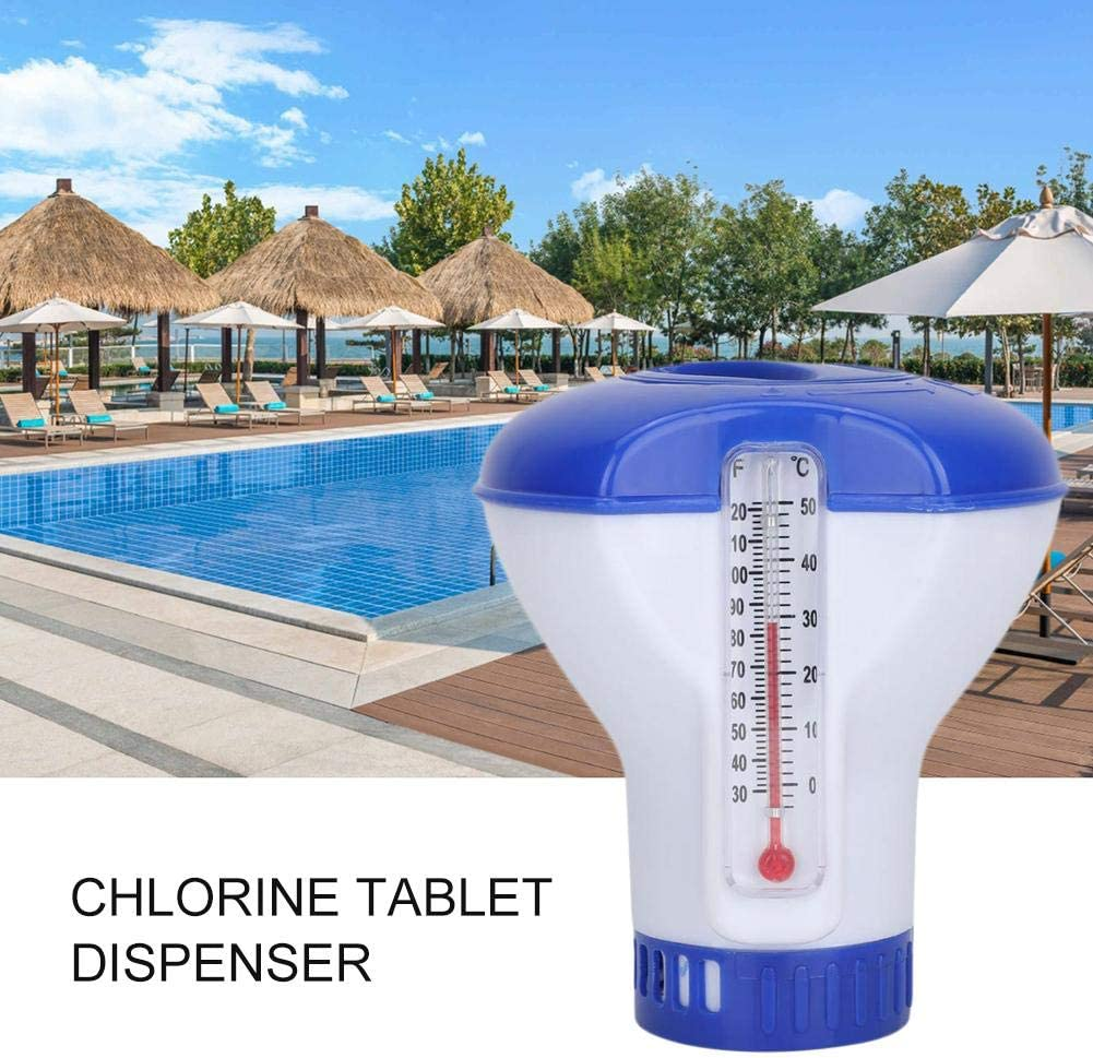 Runningfish Flotteur Chimique pour Piscine de 5 Pouces Distributeur de Chlore avec Pompe dapplication Automatique de d/ésinfection par thermom/ètre pour piscines int/érieure et ext/érieure