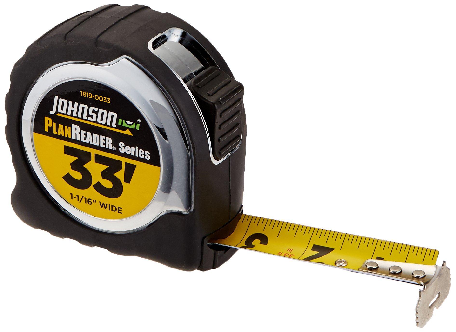 Johnson Level 1819-0033 33-Foot Plan Reader Power Tape, Black/Silver by Johnson Level