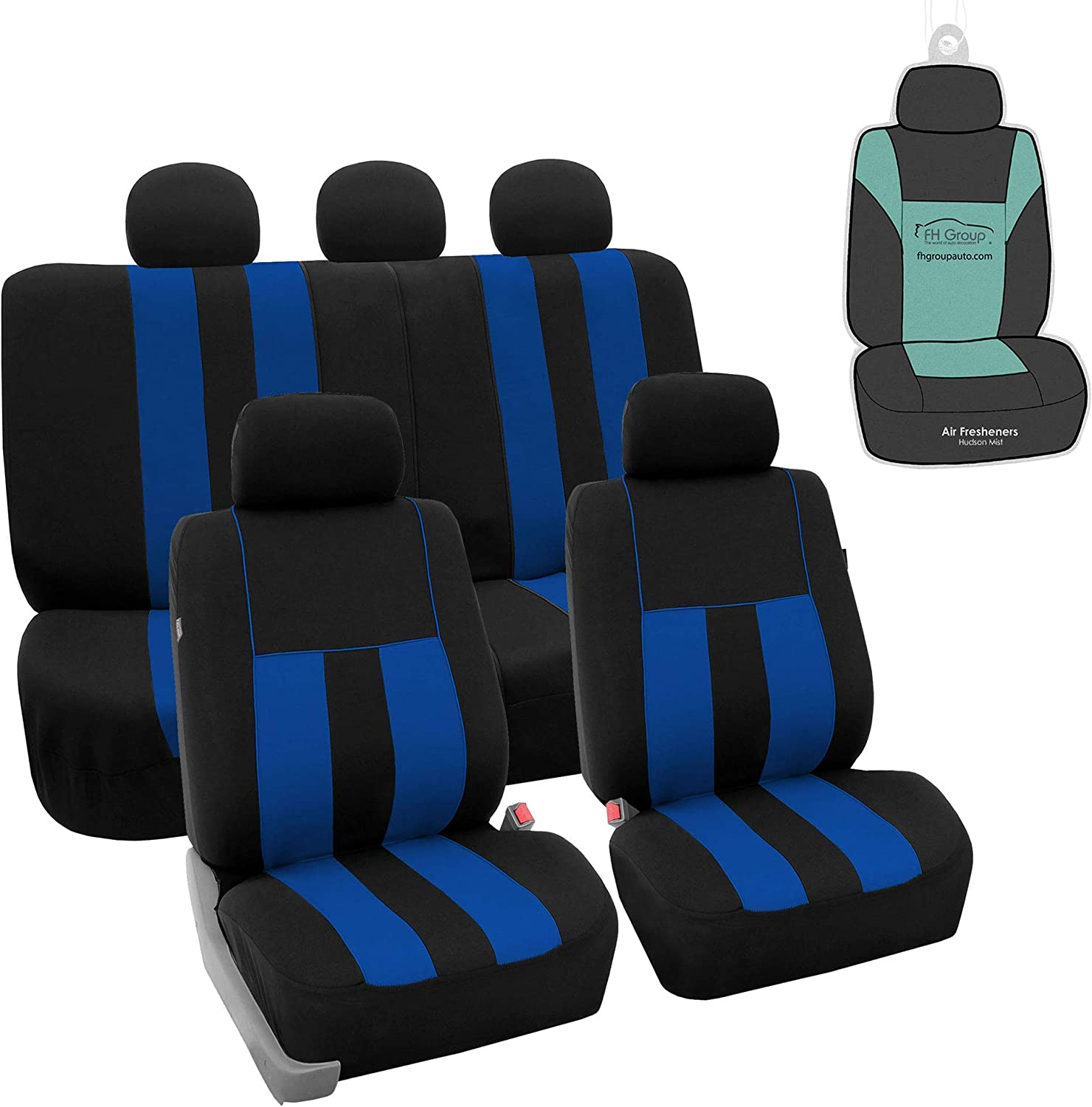 FH Group FB036115 Striking Striped Seat Covers (Blue) Full Set with Gift – Universal Fit for Cars Trucks & SUVs
