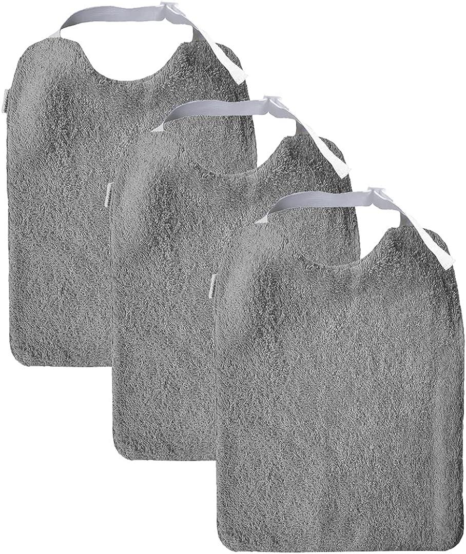 MIMUSELINA Pack 3 Baberos Adulto de Rizo e interior impermeable. Elástico al cuello ajustable y regulable. Baberos para adultos. Lavadora y secadora.
