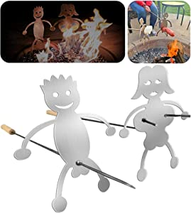 Hot Dog BBQ Skewers Accessories, Novelty Women Men Shaped Stainless Steel Campfire Roasting Stick, BBQ Grill Bonfire Barbecue Forks, Reusable Metal Forks for Bonfire, No Stick Included (boy and girl)