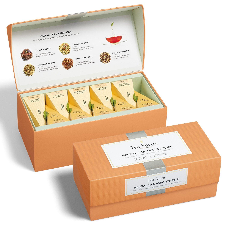 Tea Forte Presentation Box Tea Sampler, Assorted Variety Tea Box, 20 Handcrafted Pyramid Tea Infuser Bags (Herbal Tea Asst)