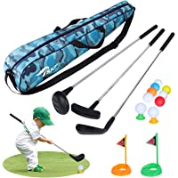 TSKF Toddler Golf Ball Game Play Set with 3 Golf Sticks, 9 Balls & 2 Practice Holes