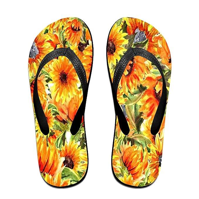 8d0ddf952 Flip Flops Watercolor Sunflower Flower Women s Indoor Slippers Top Sandals  For Woman