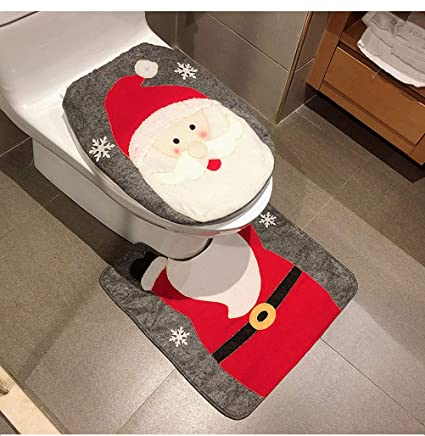 Enjoyable Heshifeng Party Accessories Christmas Snowman Santa Deer Toilet Seat Cover And Rug Set Red Christmas Decorations Bathroom Santa Claus Squirreltailoven Fun Painted Chair Ideas Images Squirreltailovenorg