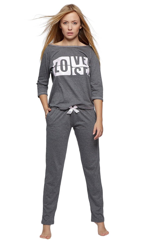 Sensis Modischer Baumwoll-Pyjama Schlafanzug Hausanzug aus lässigem Shirt und gemütlicher Hose, Made in EU