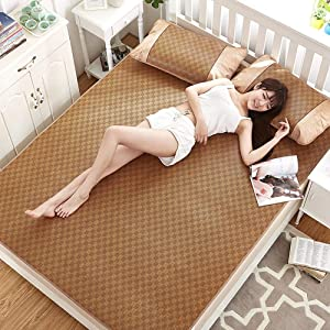 NiSotieb Summer Sleeping Rattan Pad Cooling Mattress Topper Pad Double-Sided Folding,Smooth Air Conditioning Mat (200x220cm/6.6feet)