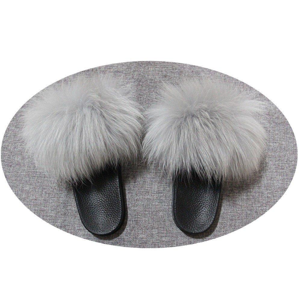 011c737d2e75e Amazon.com | qmfur Women Real Raccoon Slippers Fur Slides Open Toe ...