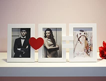 Amazon.com - 3 Openings Collage, Wooden Frame in White and Red Heart ...