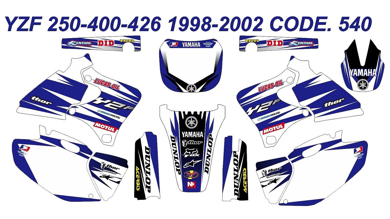 Amazon com 540 yamaha yz250f yz400f yz426f 1998 2002 98 02 decals stickers graphics kit automotive