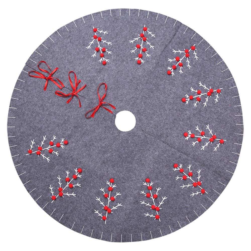 TRIEtree 47inch Christmas Tree Skirt Felt Tree Skirt Mat for Christmas Holiday Party Decoration, Grey