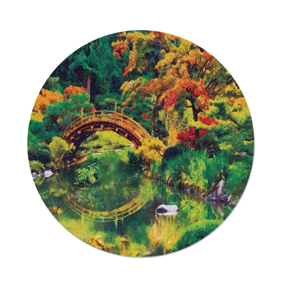 Polyester Round Tablecloth,Country Decor,Fairy Image of a Japanese Garden with an Old Ancient Bridge over the Lake Nature Print,Green Orange,Dining Room Kitchen Picnic Table Cloth Cover,for Outdoor I by iPrint