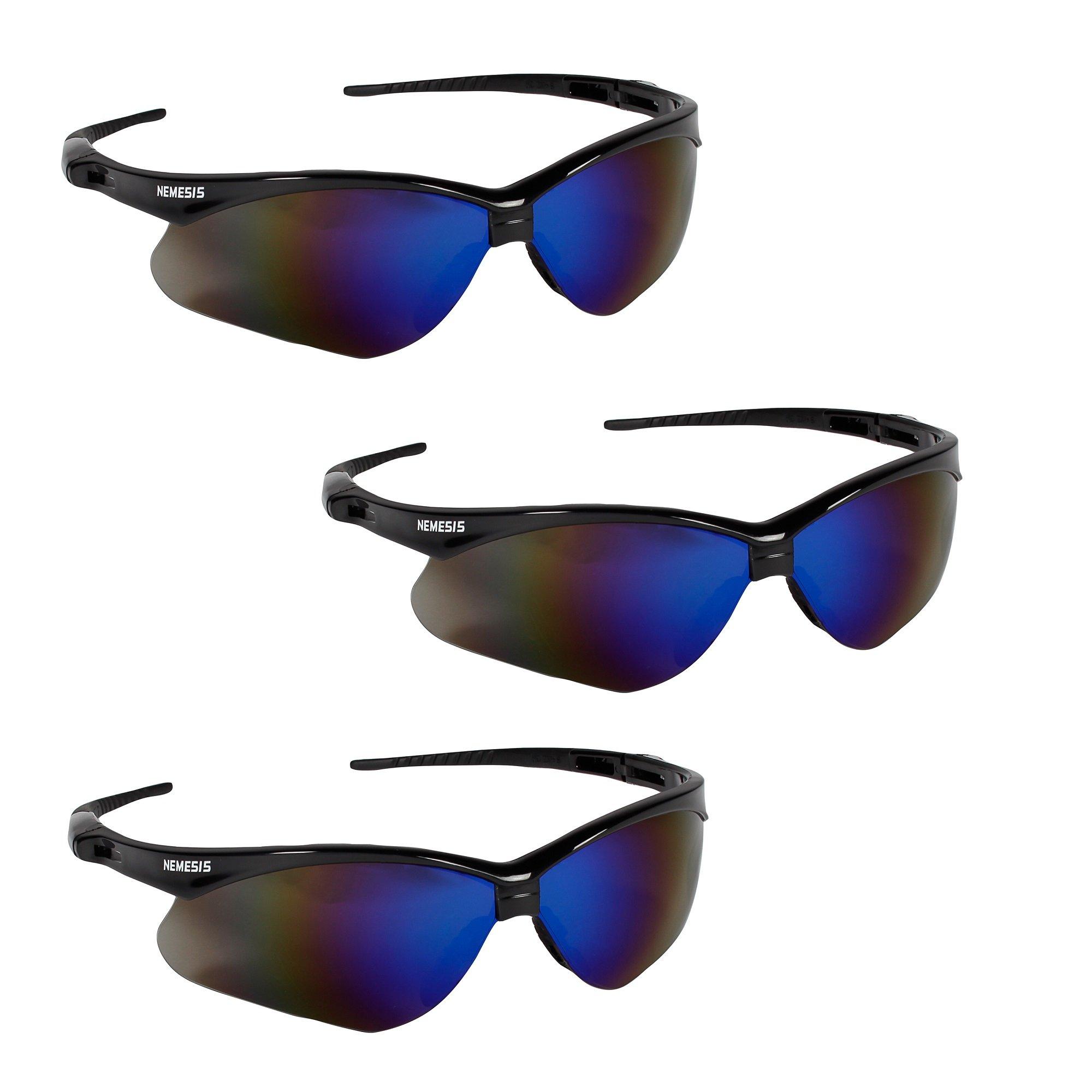 Jackson Safety V30 14481 Nemesis Safety Glasses 3000358 (3 Pair) (Black Frame with Blue Mirror Lens)