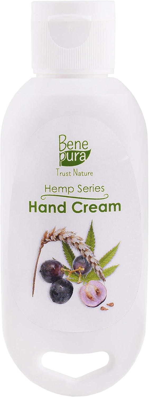 BenePura Crema de manos natural 55 ml Especialmente formulado incluso para las pieles más sensibles-Aceite de semilla de uva Aceite de cáñamo Aceite de germen de trigo Aceite de jojoba-Hidrata y nutre