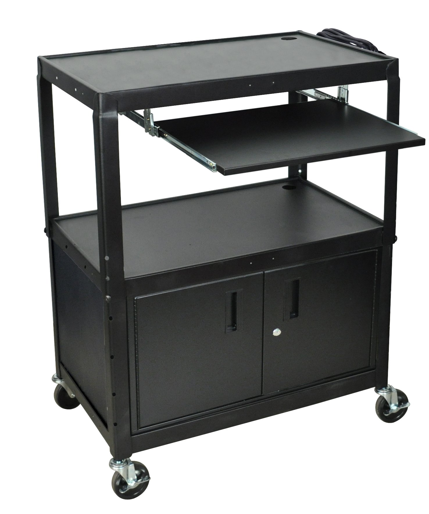 LUXOR AVJ42XLKBC A/V Cart with Keyboard Shelf and Cabinet, Extra Wide, Adjustable Height by Luxor