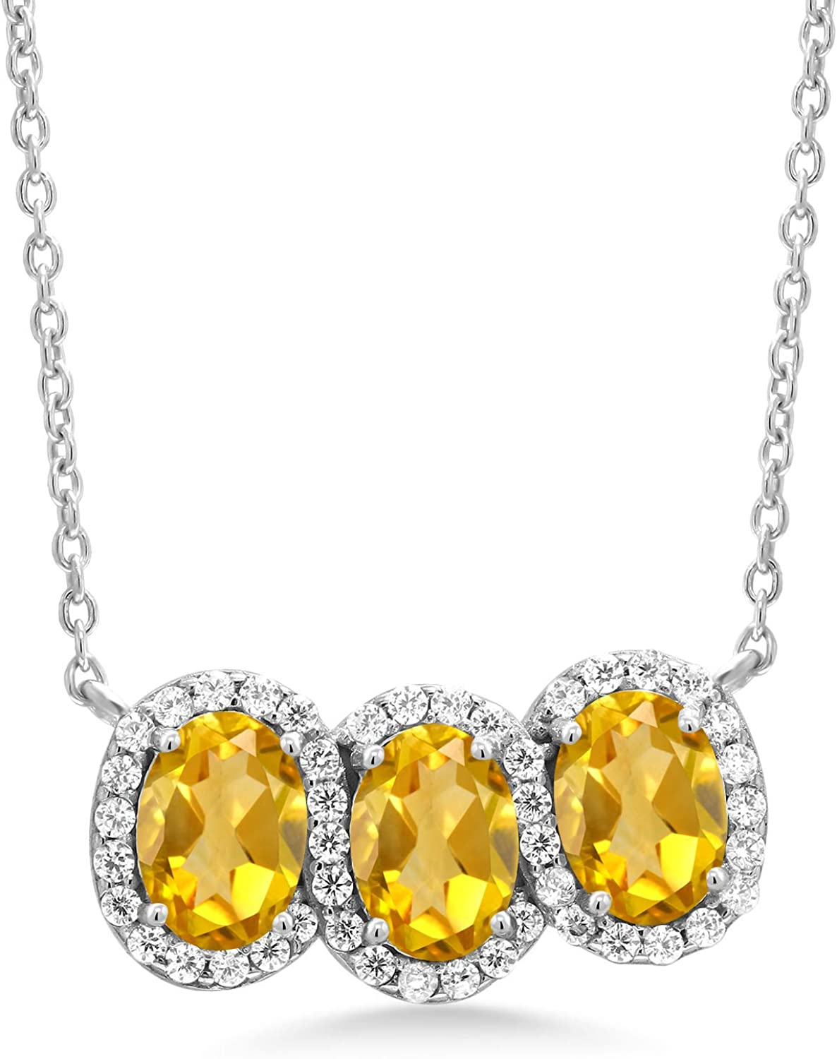 Sterling Silver and Citrine Three Stone Pendant Necklace