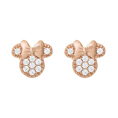 b02f845cd Amazon.com: Disney Minnie Mouse Jewelry, Pink Gold Over Sterling Silver Cubic  Zirconia Stud Earrings; Mickey's 90th Birthday Anniversary: Jewelry