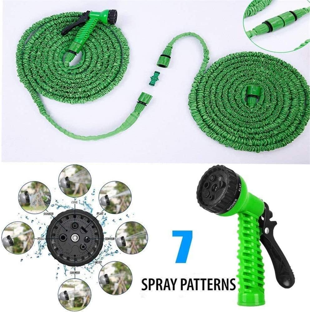 garden hose expandable, 3 times flexible hose, with 7 function Sprinkler, no need to twist the light hose For courtyard gardens Green