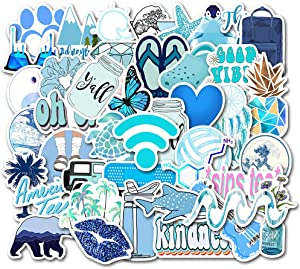 Cute Blue Vsco Stickers for Water Bottle[50pcs] Ins Pop Decals for Laptop Phone Tumbler Hydro Flask Car Computer Guitar Ceiling Wall Helmet Skateboard Luggage PC Bike Bumper Waterproof, Gift for Teen