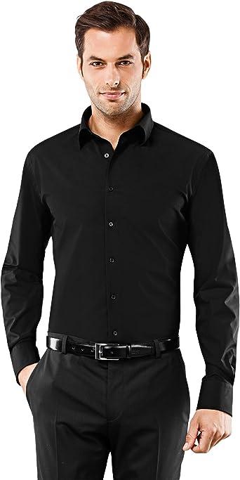 Vincenzo Boretti Camisa de Hombre, Ajustada Entallada (Slim-fit), 100% algodón, Manga-Larga, Cuello Kent, Lisa - no Necesita Plancha: Amazon.es: Ropa y accesorios