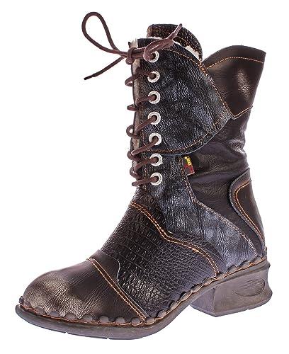 TMA Damen Winter Stiefel echt Leder Schuhe gefüttert Comfort Boots TMA 5766 Stiefeletten  Schwarz-Grau ef10b07b88