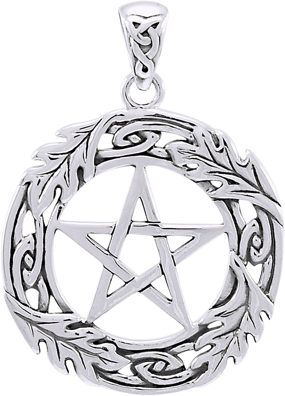 Sterling Silver Oak Tree Leaf Pentacle Pentagram Pendant Wiccan Pagan Jewelry