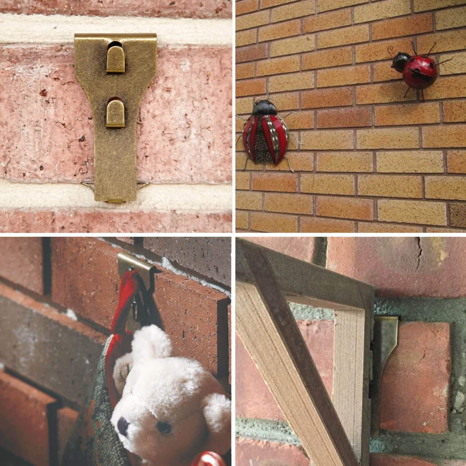 Metal Brick Hooks for Hanging 10 Pack Bulk Brick Wall Clips Fastener Hanger Fits Brick 2 1//4 to 2 3//8 inch in Height