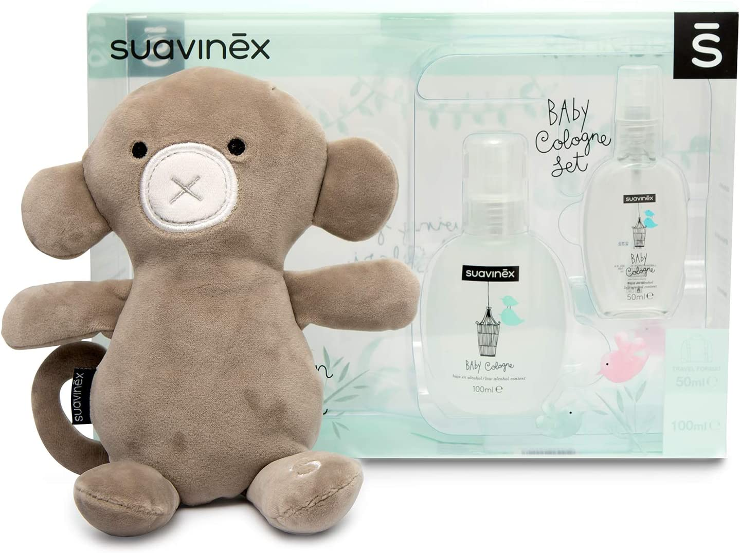 Suavinex, Set regalo recién nacido Baby Cologne 100ml + Peluche + Baby cologne 50ml formato viaje de regalo
