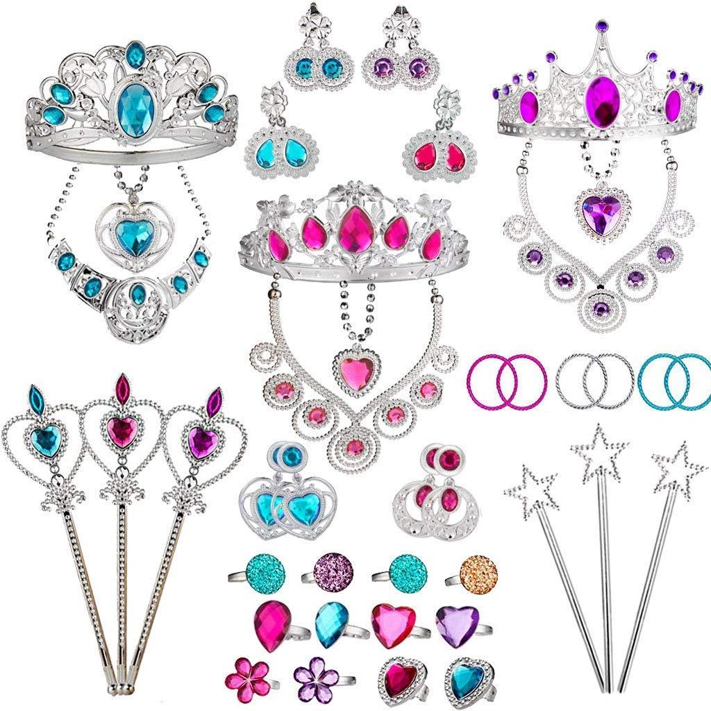 Tagitary Princess Pretend Jewelry das Toys, das Von Jewelry Dress Up Play Teller falsch Girls Birthday der ist mit dem Dach 45 Pcs