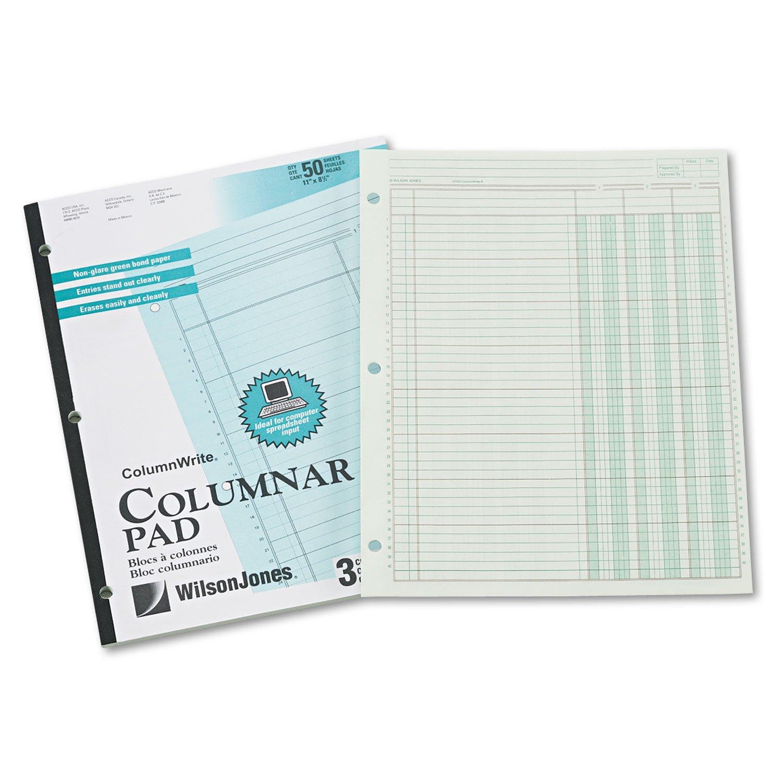 Wilson Jones G7203A Columnar Pad, 3 Columns, 50 Sheets, 11''x8-1/2'', Green