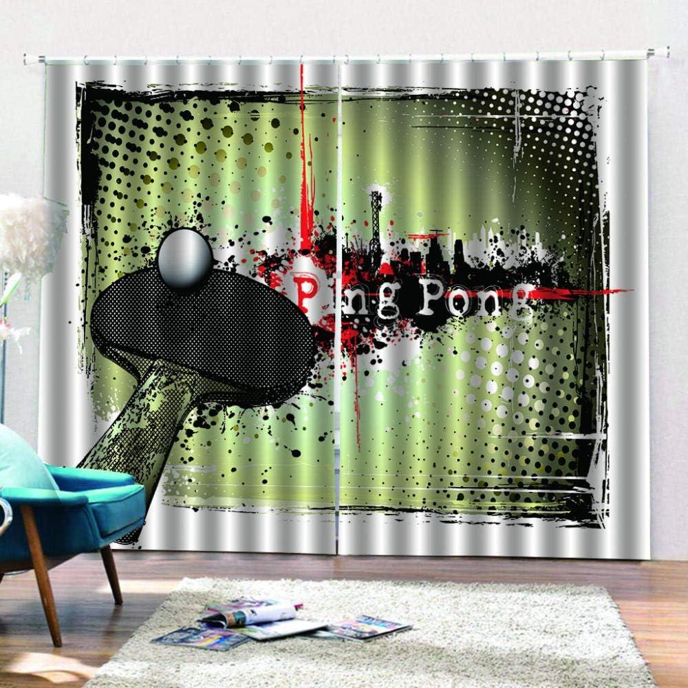 SKYZAHX Poliéster Cortinas Impresas en 3D 2 Paneles Cortinas Apto para Sala de Estar Ping Pong Cortina Opaca 140 × 183 cm