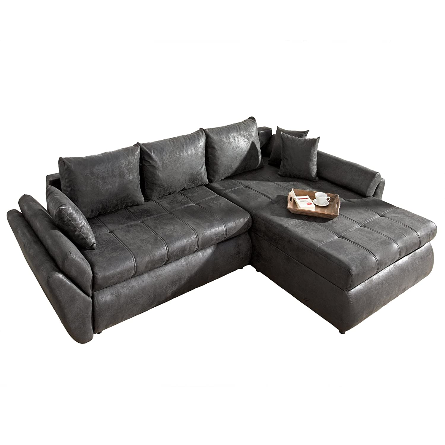 design ecksofa rodeo vintage grau im used look mit schlaffunktion schlafsofa couch g nstig. Black Bedroom Furniture Sets. Home Design Ideas