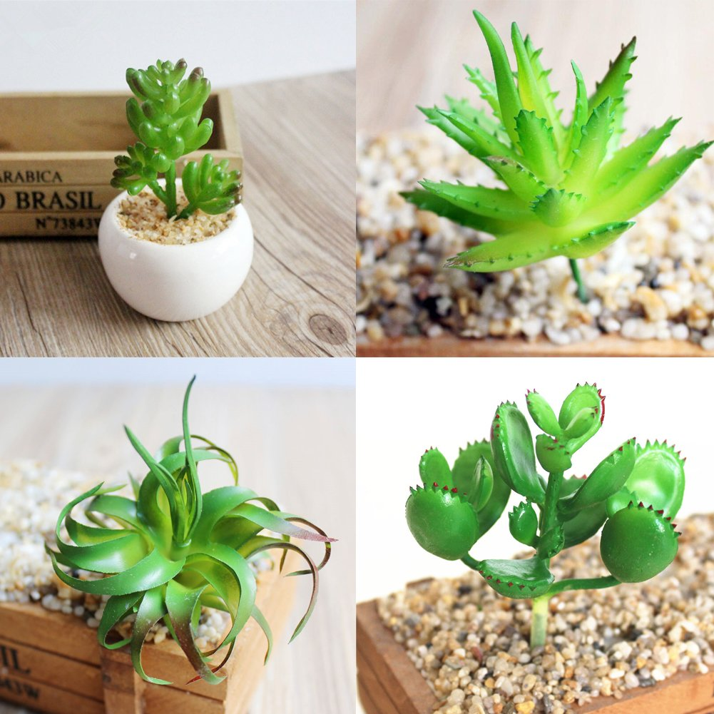 BigOtters 10 Pcs Artificial Succulents Plants, Unpotted Fake Cactus Succulents, Mixed Faux Succulents for Garden Home Wall Decoration