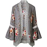 ACEFAST INC Vintage Women Girls Floral Print Long Loose Kimono Jacket Coat Cardigan Blouses