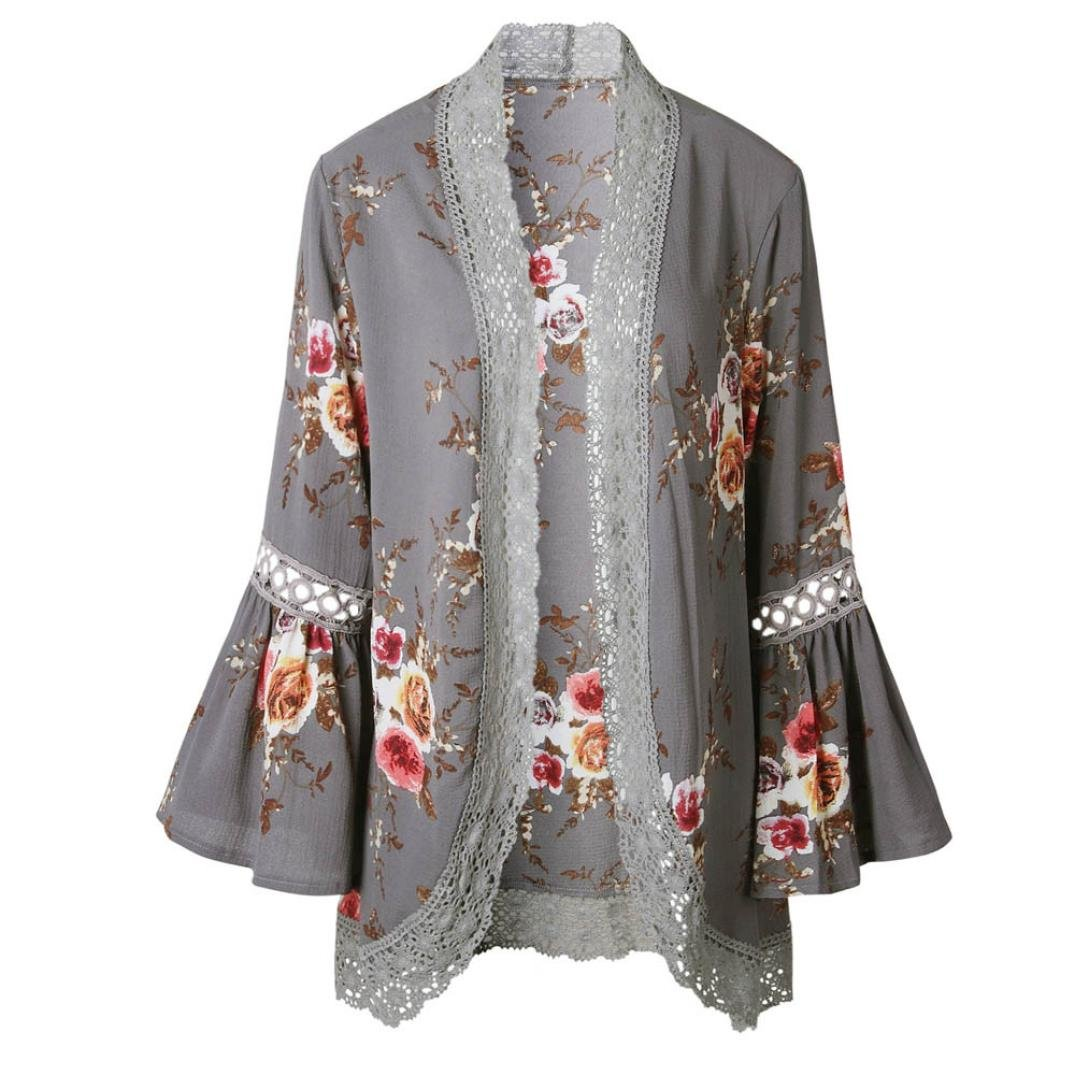ACEFAST INC Vintage Women Girls Floral Print Long Loose Kimono Jacket Coat Cardigan Blouses (Large, Gray)