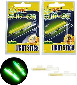 Barras de pesca brillantes, 20pcs #L 2.7X3.2mm barra de luz seca tipo clip en la caña de pescar TopFloat Glow Stick noche Pesca Verde Fluorescente Luz Pesca Glow Sticks,: Amazon.es: Deportes y