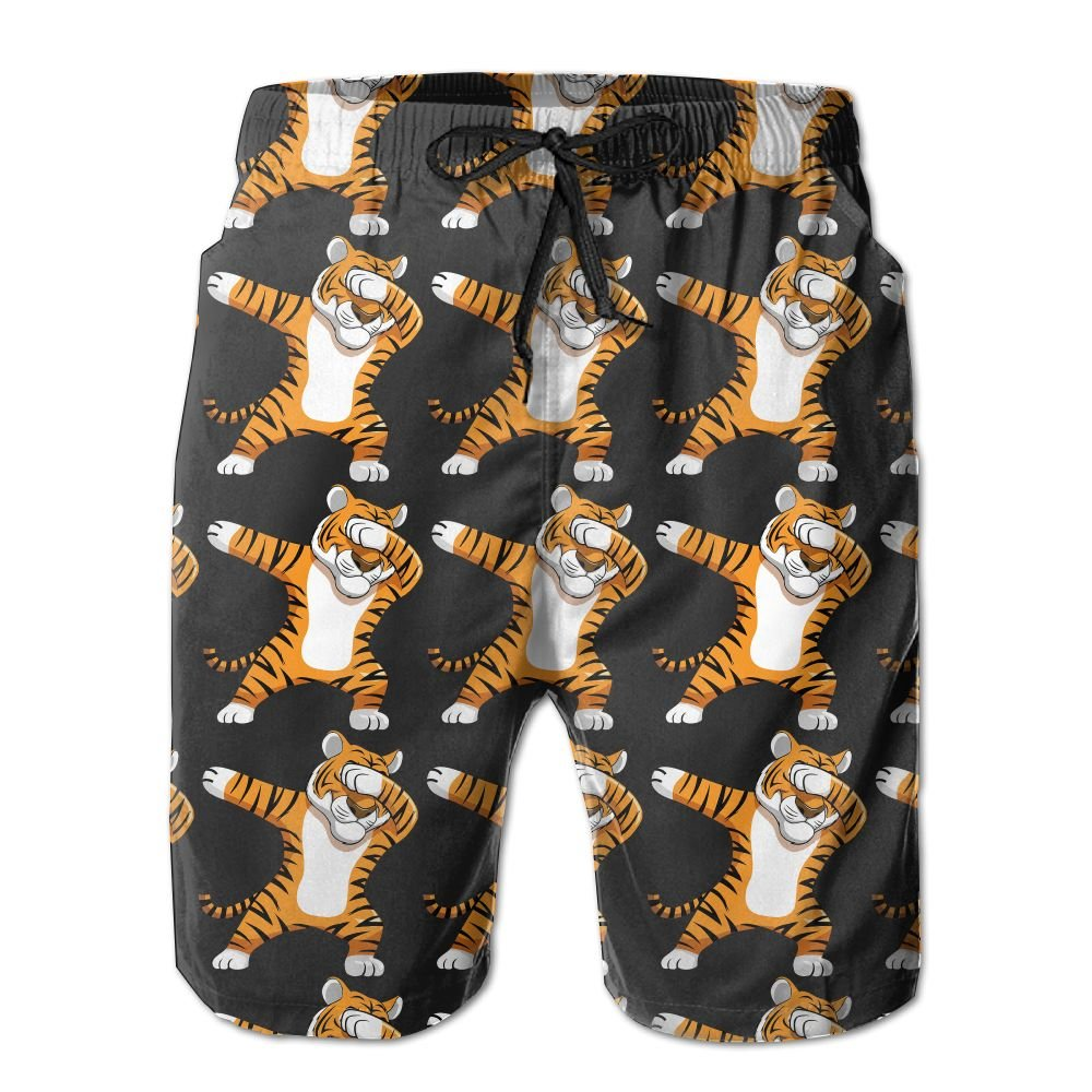 Qpkia Dabbing Tiger Funny DAB Animals Men Casual Drawstring Beach Boardshorts Pants Pocket