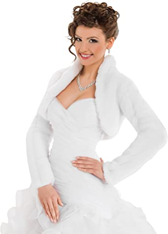 OssaFashion-BridalWear Wedding Faux Fur Bridal Jacket Shrug 3//4 Length Sleeve Bolero Full Lined