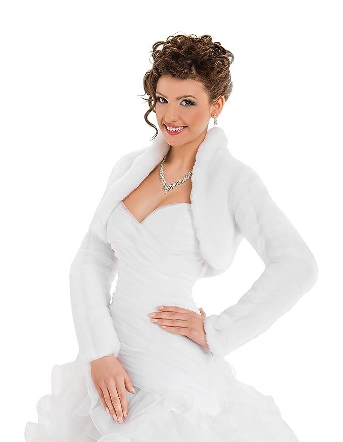 OssaFashion Bolerojäckchen Braut Jacke Bolero aus künstlichem Fuchspelz mit voll länger Ärmel mit Kragen, volles Futter
